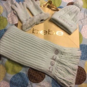 Bebe rhinestones logo set hat gloves and scarf